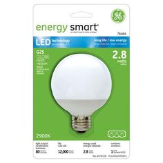 GE Energy Smart 10W Replacement (2.8W) Globe G25 LED Bulb (Warm, White) $18.95