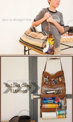 If you've got the sewing skills, make this mobile kitchen pantry, which will come in handy for future camping trips and picnics. | 39 Clever Tailgating DIYs To Get You In The Spirit