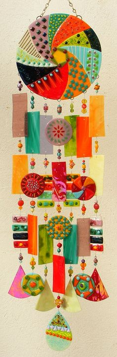 Kirks Glass Art Fused Stained Glass Wind Chime windchime - Whirlwind. $349.00, via Etsy.