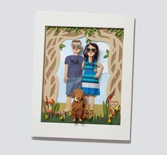 Custom Couple Portrait Paper Family of Three. by BrittaniRosePaper, $115.00