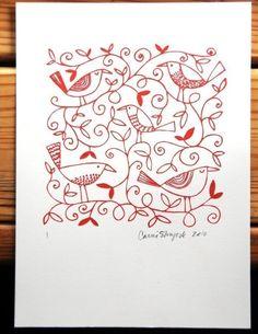 embroidery patterns, print inspir, art prints, poster, doodl, letterpress print, birds, canoes, red work