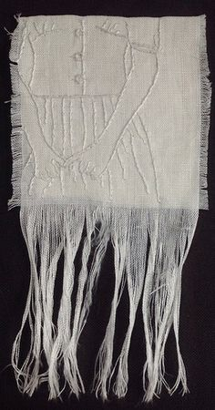 """She was only waiting for her pounding heart to settle down - 4x4"""" whitework embroidery on linen"""