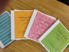 Data Notebooks by grade level