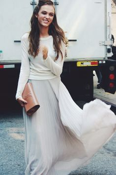 maxi skirt, sweater, YSL nude clutch