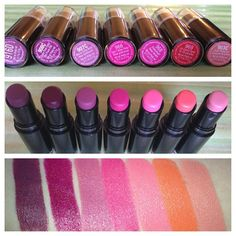 Wet n Wild Lipstick Swatches - I want Sugar Plum Fairy (second from left) and Just Peachy (farthest on right)
