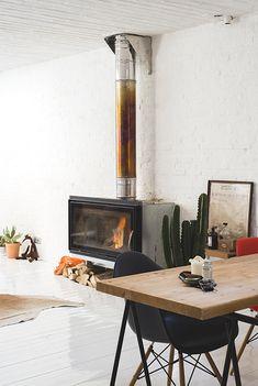 modern fireplace..