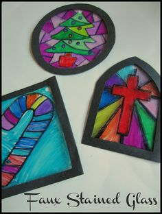 Teach kids about the history of stained glass and upcycle a clear plastic fresh fruit basket into faux stained glass ornaments.