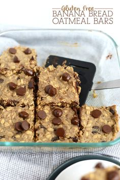 Gluten Free Banana Bread Oatmeal Bars- naturally sweetened and made in less than 30 minutes! via FitFoodieFinds.com #recipe #healthy