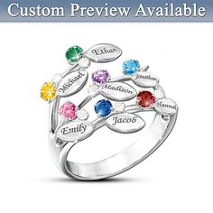 Our Family Of Love Personalized Birthstone Ring. for mom