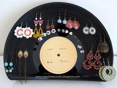 earring holders, diy vinyl record, record earring