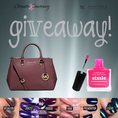 "win a Michael Kors handbag, Jordan Liberty ""dark side"" nail polish, Picture polish ""Sizzle"" by Cosmetic Sanctuary and Wantable goodies! Good Luck!"