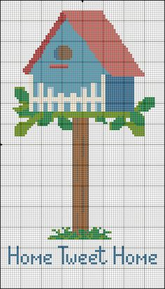 Blue cross stitch birdhouse pattern