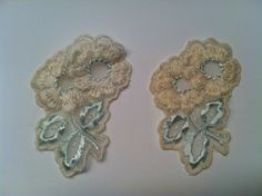 Vintage Cream and Blue Flower Sew On by TheDearestDollhouse, $8.00