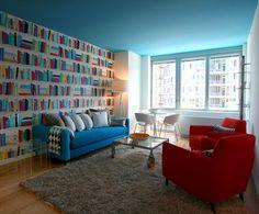 interior design, wall colors, bookshelf wallpap, wall cover, islands, librari, ceilings, feature walls, blues