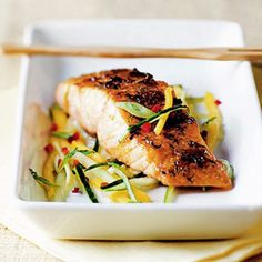 Salmon with Mango Salsa. Replace sugar with sweetener to make this syn free.