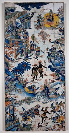 1690-1730. Dutch faience tile panel made in Delft. Chinoiserie; Buddha, Samurai, Pavilions, Blue Palm Fronds  and giant African Dancers populate this wildly fanciful and unusual polychromatic Delft tile panel. The cartouche in the upper left is filled with Faux Chinese script. Rijksmuseum,  Amsterdam.