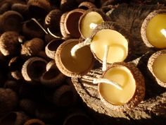 floating acorn cap candles