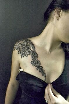 25 Beautiful Flower Tattoos Designs And Ideas For Women | How to Tattoo? lace shoulder tattoos, cover up, tattoo idea, art, lace tattoo shoulder, a tattoo, white ink, tatoo, design