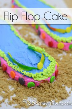 This Flip Flop Cake is so much fun for summer! flip flop, summer cakes, flop cake