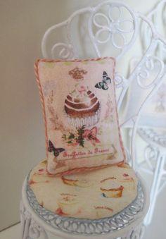 Dollshouse Miniature Cushion. Truffettes de France Pink Design. $4.00, via Etsy.