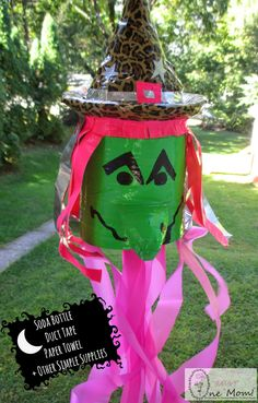 Upcycled Soda Bottle Duck Tape Witch Windsock { + a Super Simple Duck Tape Ghost Windsock!}