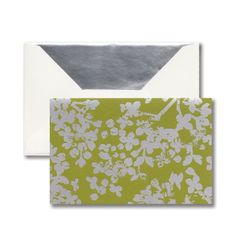 Kiwi Lilac Note: A metallic pattern makes a bold statement on this note. Silver foil takes a hit of distress and makes a splash on rich hues, creating a look both sharp and current.