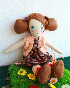 Mimi  Handmade cloth doll. One of a kind brown por jesuismimi
