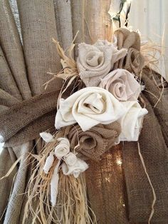 fabric roses, idea, burlap flowers, barn, curtain tie backs