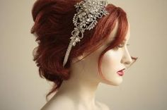 Vintage inspired headpiece Handbeaded by bridalcouture