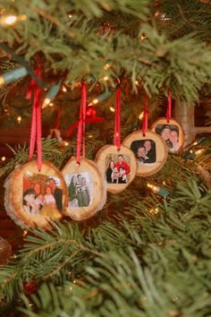 A cute idea we came up with to commemorate our Christmas tree and family for each year.  Just cut off part of the tree trunk before you set it up, drill a hole for a ribbon, take a current family picture and mod podge it on with the date on the back.  These are my favorite ornaments on the tree!