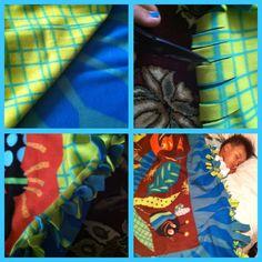 DIY: knot fleece blanket. 2 fleeces, Cut, tie, wahla!!