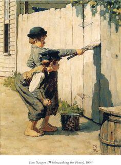 practical jokes, tom sawyer, book, fences, paintings, norman rockwell art, illustr, sawyer whitewash, mark twain