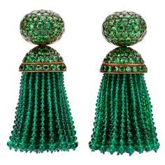 HEMMERLE A Pair of Emerald and Tsavorite Tassel Ear Pendants