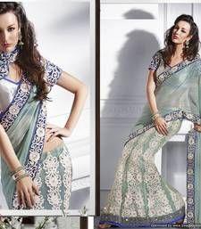 Cambridge Blue Net Lehanga Saree net-saree @ www.mirraw.com indian design, design sare, cambridg blue, net lehanga, designer sarees, lehanga sare, blue chiffonnet, blues, indian sarisare