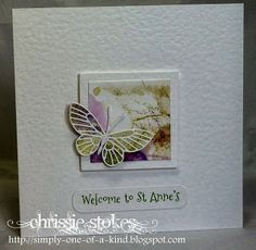 smooshed flower background and punch cut butterfly