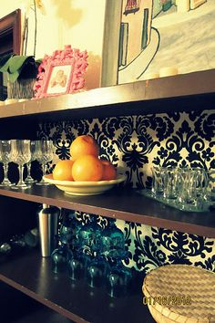 Look what I did! Turn an ugly old bookshelf into an artistic bar and storage area!