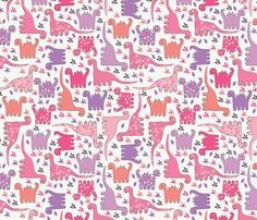 Favourites on pinterest friends cast dinosaur bedding for Purple dinosaur fabric