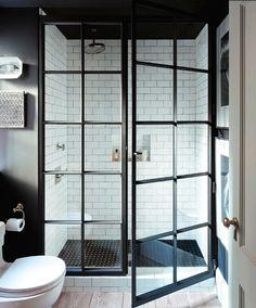 SHOWER black steel framed doors Designer: Jenny Wolf Photographer: Emily Gilbert Trad Home Spring 2014