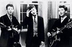 Paul McCartney, John Lennon, George, Harrison performing at a wedding reception 1958.