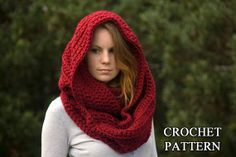CROCHET PATTERN Oversized Infinity Scarf Pattern, Hooded Cowl, Instant Download