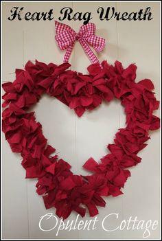 Homespun Heart Rag Wreath at Opulent Cottage