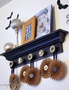 halloween mantle decor bats_createandbabble.com