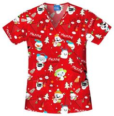 HQ Mock Wrap in Merry Critterz Holiday Top #Christmas #scrubs