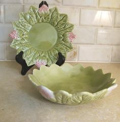Vintage Portugese Strawberry Bowl and Plate