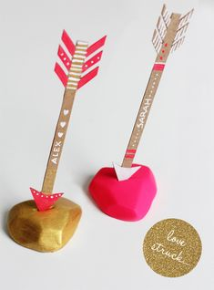 diy love struck valentine placecards  | Fellow Fellow  one could do this for kids party with sword in the stone as well