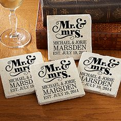 """I LOVE this """"Mr. & Mrs."""" Personalized Tumbled Stone Coaster Set! It's such a great wedding gift idea!"""
