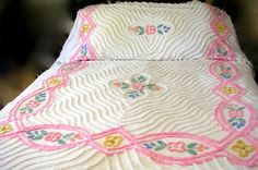 Vintage Cottage Chic Cotton Chenille Full or Queen Size Bedspread Pastels Floral - Free USA Shipping
