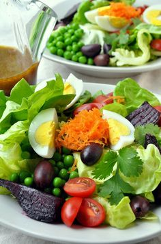 Butterhead Salad with Olives, Spring Peas and Roasted Beets with Spicy Olive Vinaigrette  This looks awesome!!