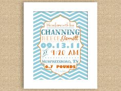 PRINTABLE Chevron Baby Birth Announcement Wall Art Nursery Print - Can do many colors and sizes. $12.00, via Etsy.