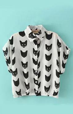 crazy cats, cats meow, cloth, cat blouses, crazy cat lady, print, shirt